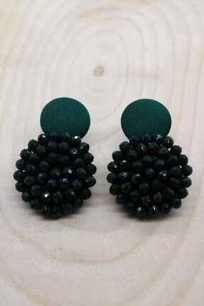 Kristal Tasarım Düğme Küpe Zümrüt Yeşili shey0097