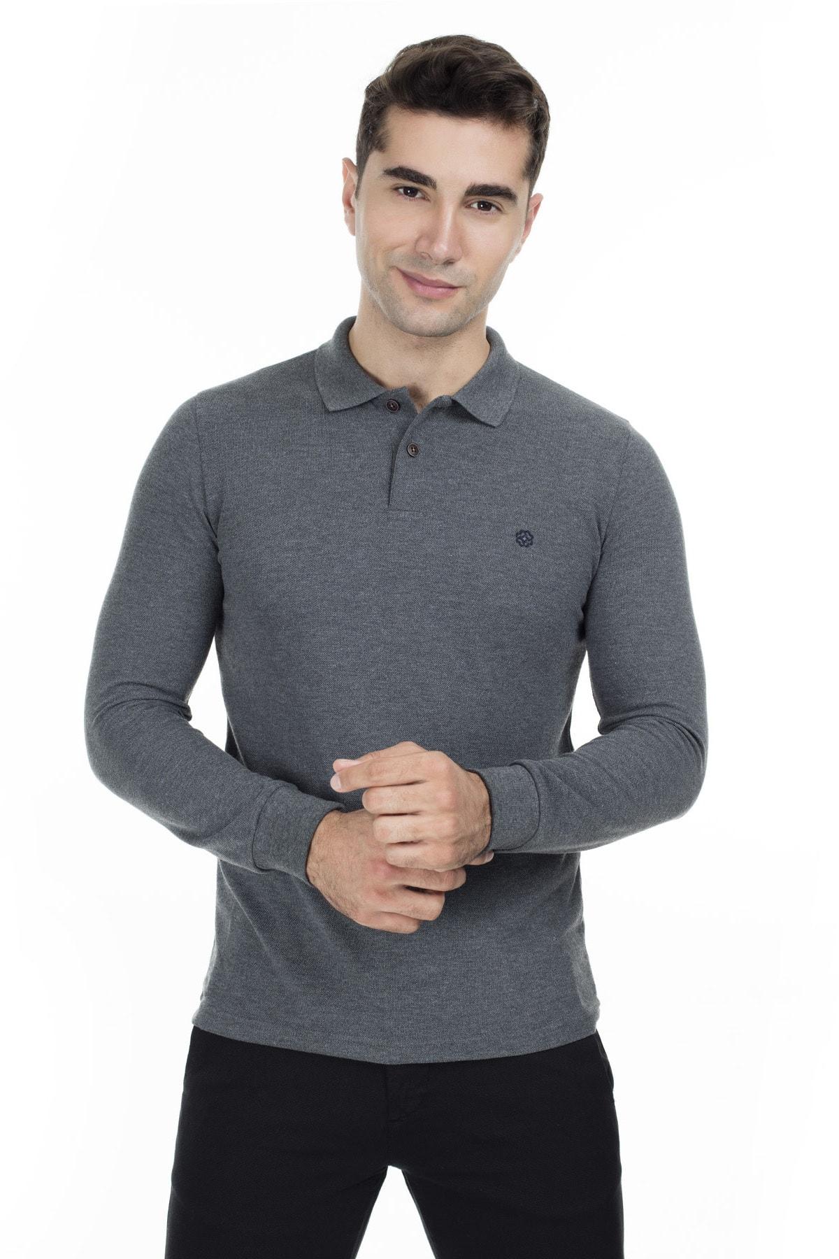 Buratti Sport Buratti Erkek FÜME Düğmeli Polo Yaka Uzun Kollu Pamuklu Sweatshirt 4369065 2