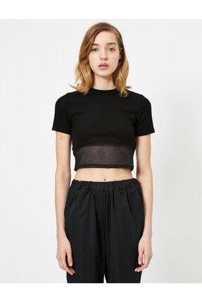 Koton Kadın Siyah T-Shirt 0YAL18625IK 2