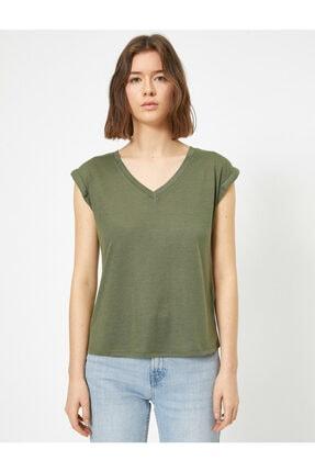 Koton Kadın Yeşil V Yaka T-shirt 2