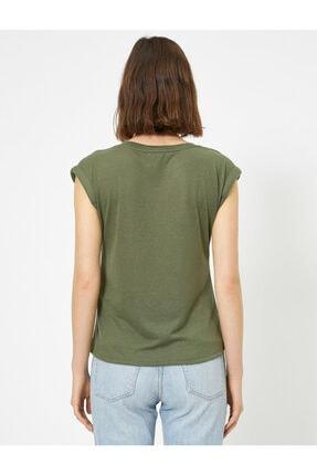 Koton Kadın Yeşil V Yaka T-shirt 3