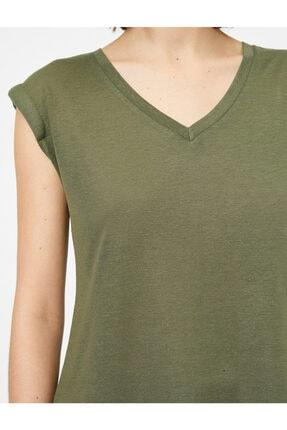 Koton Kadın Yeşil V Yaka T-shirt 4