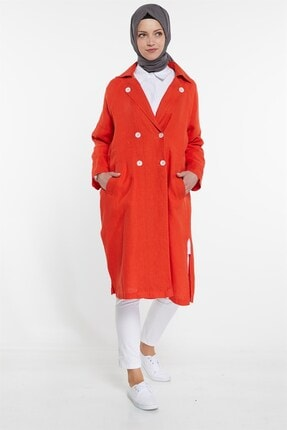 Nihan Kadın Kırmızı Keten Kap X3278 4