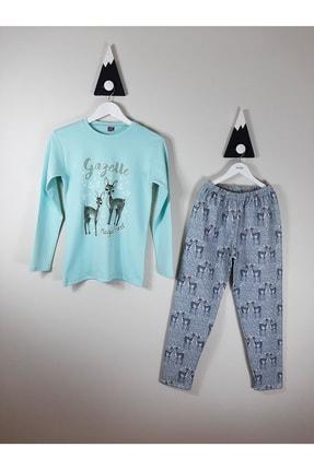 Vitmo Baby Vitmo Uzun Kollu Şardonlu Ceylan Baskılı Yeşil 13 Yaş Kız Pijama Takımı 0
