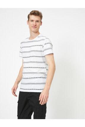 Koton Erkek Beyaz Çizgili T-Shirt 0YAM14911OK 1