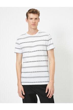 Koton Erkek Beyaz Çizgili T-Shirt 0YAM14911OK 2