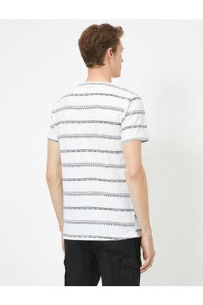 Koton Erkek Beyaz Çizgili T-Shirt 0YAM14911OK 3