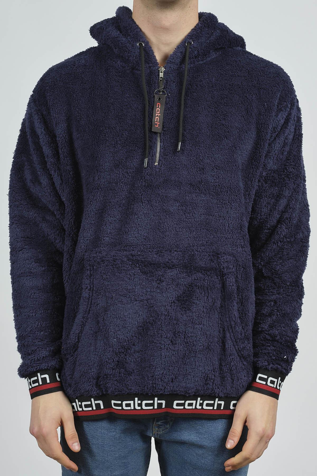 XHAN Lacivert Kanguru Cepli Peluş Sweatshirt 1KXE8-44270-14 3
