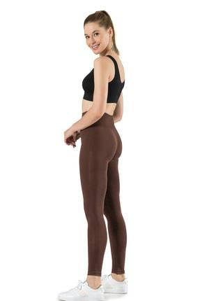 Miss Fit Kadın Kahverengi Dikişsiz Basic Tayt Günlük Kullanım Örme Seamless 0