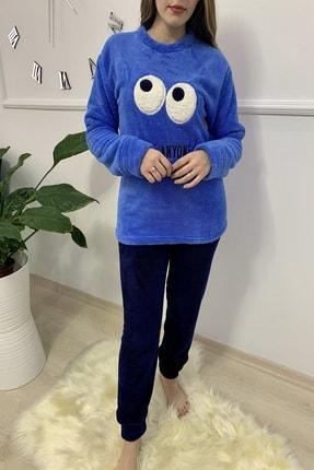 Sude Kadın Mavi Desenli Welsoft Pijama Takımı 0