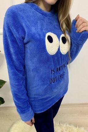 Sude Kadın Mavi Desenli Welsoft Pijama Takımı 2