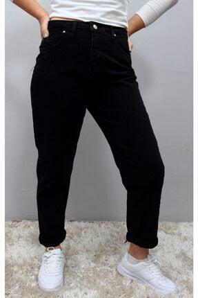Siyah Kadın Tam Kalıp Yüksek Bel Mom Jeans (Pantolon) MOMJEANSSYH