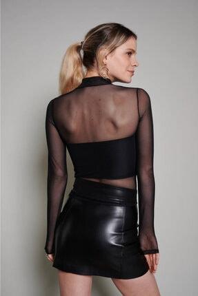 Zechka Kadın Siyah Boğazlı Tül Bluz 4