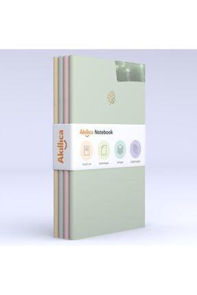 AKILLICA Notebook 4'lü Defter Set Soft Çizgili Pastel Notebook 13,5x21 Cm 0