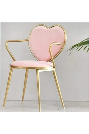 Bareko Tasarım Kalpli Makyaj Ve Yemek Odası Sandalyesi 0
