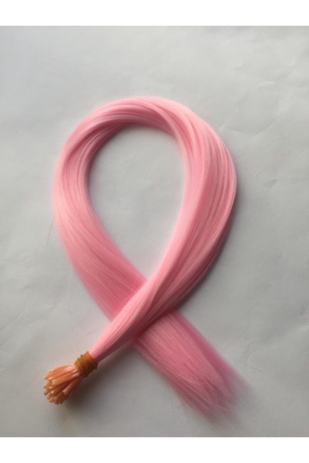 Renkli Sentetik Boncuk Kaynaklık Saç Takım Aparatı Şeker Pembe 10 Adet
