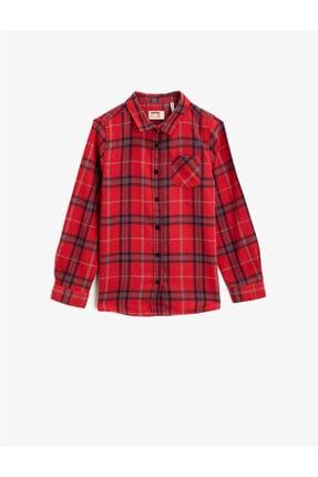 Koton Kız Çocuk Kırmızı Kareli Klasik Yaka Cepli Uzun Kollu Ekose Gömlek 0