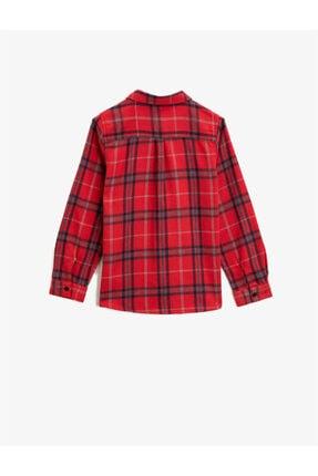 Koton Kız Çocuk Kırmızı Kareli Klasik Yaka Cepli Uzun Kollu Ekose Gömlek 1
