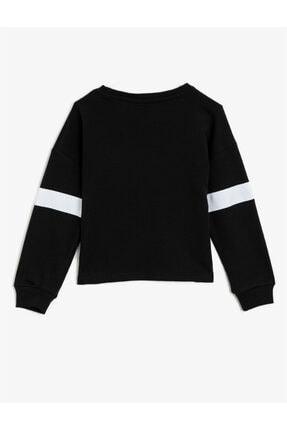 Koton Kız Çocuk Siyah Minnie Mouse Lisanslı Baskılı Pullu Bisiklet Yaka Sweatshirt 1