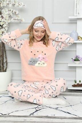 ARCAN Kadın Somon Bulut ve Yıldız Nakışlı Pijama Takımı 1128-37 2
