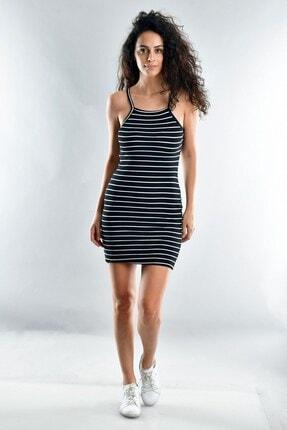 Cotton Mood Kadın Siyah Beyaz Kaşkorse İp Askılı Elbise  20071620 0