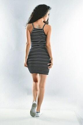 Cotton Mood Kadın Siyah Beyaz Kaşkorse İp Askılı Elbise  20071620 2