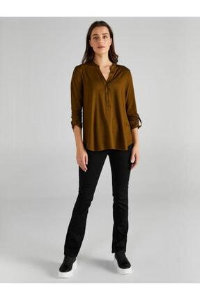 Faik Sönmez Kadın Yeşil Kaçık Yaka Uzun Kollu T-shirt 1