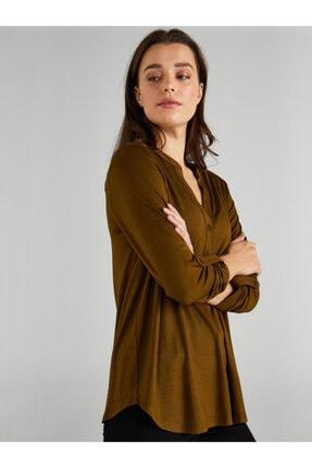 Faik Sönmez Kadın Yeşil Kaçık Yaka Uzun Kollu T-shirt 2
