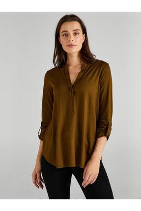 Faik Sönmez Kadın Yeşil Kaçık Yaka Uzun Kollu T-shirt 3