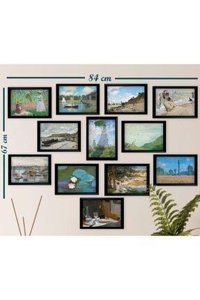 Ho27 12'li Claude Monet Çizimleri Tablo Seti (siyah Çerçeveli Görünümlü) 2