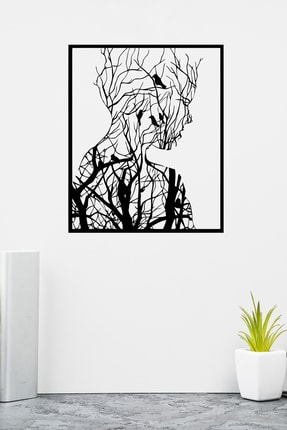 PAYİDARTS Ormandan Doğan Kadın Lazer Kesim Metal Duvar Tablo 70x87cm 1