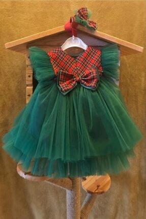 Bremen Kız Çocuk Yeşil Ekoseli Tüllü Yılbaşı Elbisesi 1