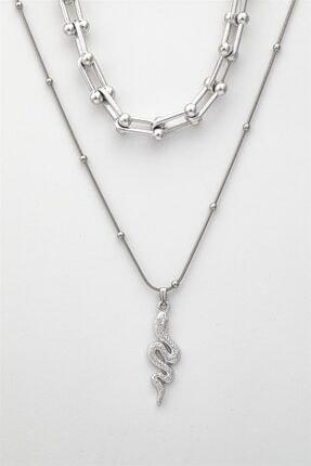 Sortie Aksesuar Kadın Gümüş Kombin Kolye 057 2