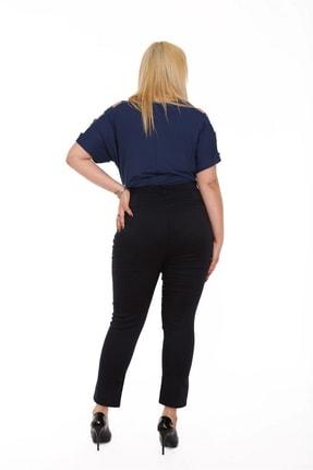Rmg Kadın Lacivert Kanvas Yüksek Bel Dar Paça Pantolon Rg1390yp 2