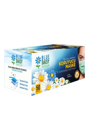 BlueDaisyMask Meltblown Filtreli Cerrahi 3 Katlı Telli Kokusuz Yeşil 50'li Kutu Maske 3
