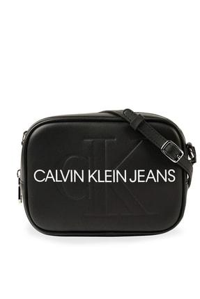 Calvin Klein Kadın Siyah Beyaz Logo Baskılı Ayarlanabilir Askılı Çanta K60k607202 Bds 0