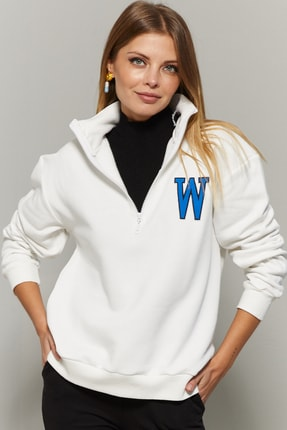تصویر از Kadın Beyaz Önü Fermuarlı Nakışlı Sweatshirt PTS27