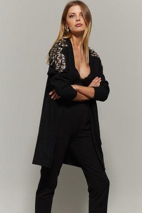 Cool & Sexy Kadın Siyah Omuzları Payetli Hırka PKA723 0