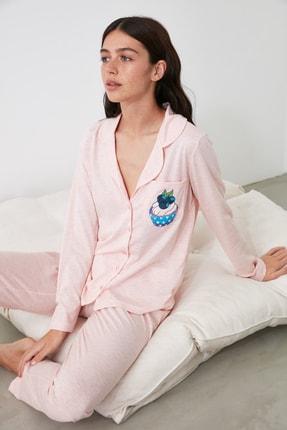 TRENDYOLMİLLA Pudra Baskılı Örme Pijama Takımı THMAW21PT0303 0