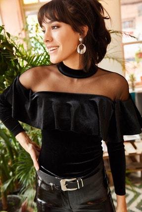 Olalook Kadın Siyah Roba Tüllü Volanlı Kadife Bluz BLZ-19001220 2