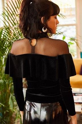 Olalook Kadın Siyah Roba Tüllü Volanlı Kadife Bluz BLZ-19001220 3