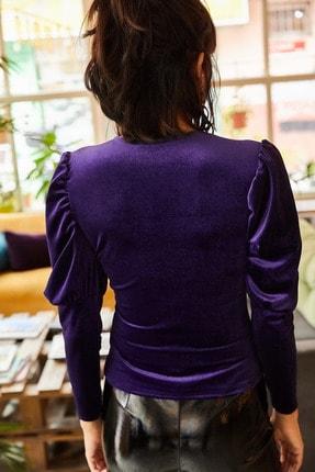 Olalook Kadın Mor Kol Detaylı V Yaka Kadife Bluz BLZ-19001221 4