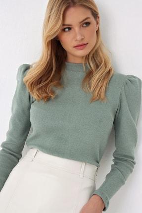 Trend Alaçatı Stili Kadın Çağla Yeşili Prenses Kol Yarım Balıkçı Şardonlu Crop Bluz ALC-X5042 3