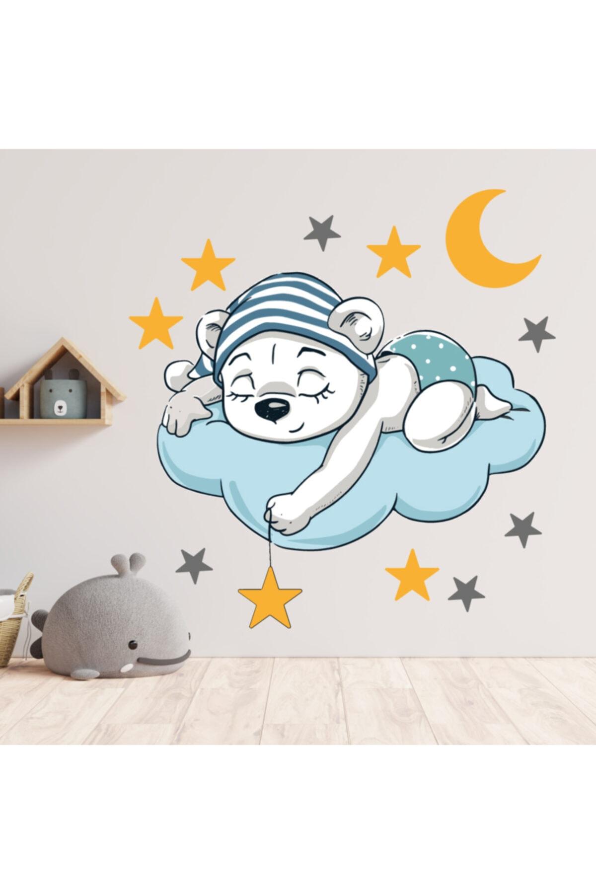 Bulut Üzerinde Uyuyan Ayı Dekoratif Çocuk Odası Sticker