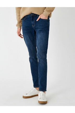 Koton Erkek Mavi Micheal Skinny Fit Jean Pantolon 0