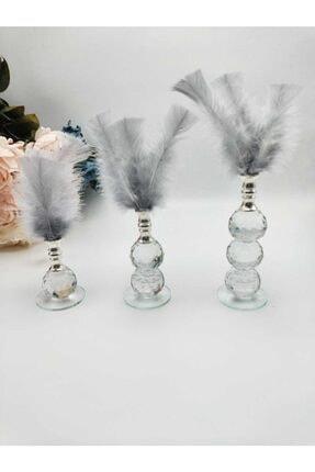 ZEKAAVM Üç Adet Gri Tüylü Kristal Cam Dekor Ürünü 0