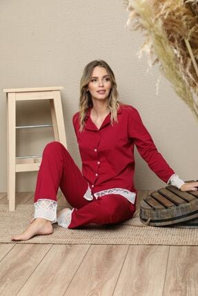 Picture of Bordo Pamuklu Likrali Biyeli Düğmeli Pijama Takım