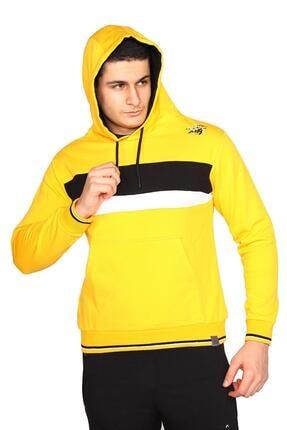 Bessa Sport Erkek Sarı Kapişonlu Kanguru Cepli Sweatshirt 2