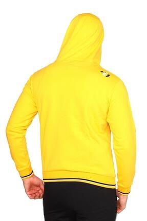 Bessa Sport Erkek Sarı Kapişonlu Kanguru Cepli Sweatshirt 3