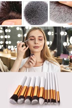 Xolo Profesyonel 10'lu Fiber Makyaj Fırça Seti Fondöten Far Kapatıcı - Beyaz 0